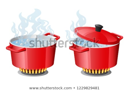 Stock photo: Set red pans with boiling water, opened and closed pan lid