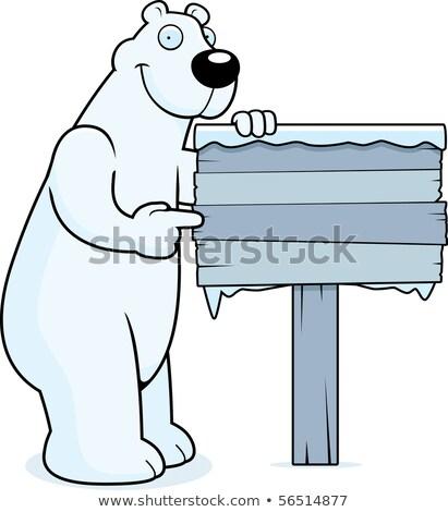 Cartoon oso polar madera signo ilustración Foto stock © cthoman