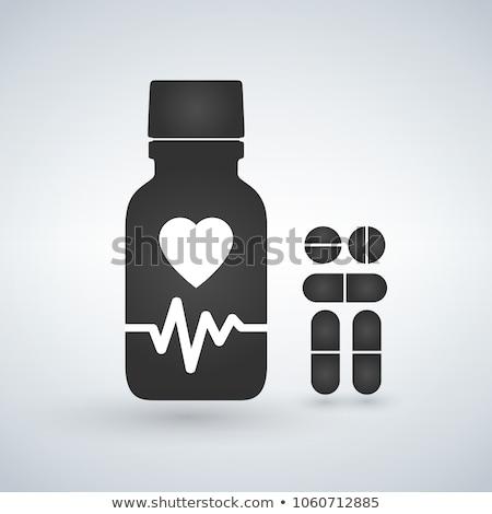 Cardio heart Pill bottle icon. Modern pill bottle for pills or capsules. Flat style vector illustrat Stock photo © kyryloff