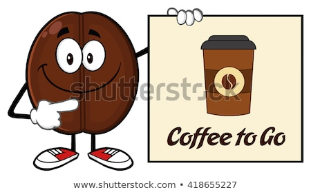 Souriant grain de café mascotte dessinée personnage pointant signe Photo stock © hittoon