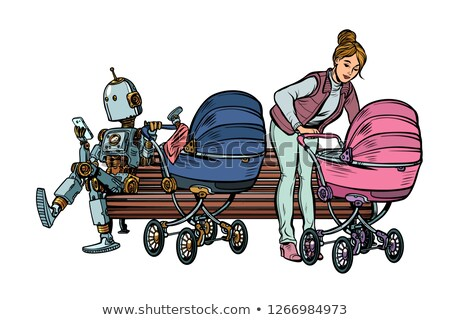 young mother and robot with a baby carriage, park bench Stock photo © studiostoks