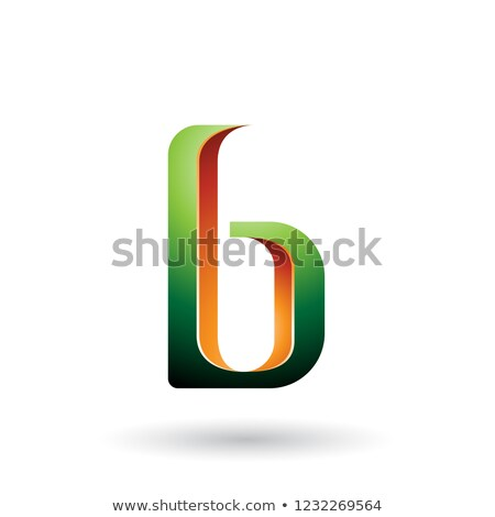 Orange and Green Shaded Letter B Vector Illustration Stock photo © cidepix