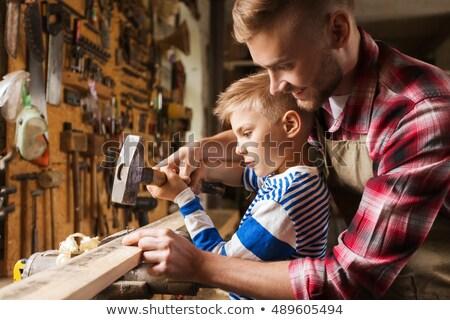 отцом сына молота рабочих семинар семьи плотничные работы Сток-фото © dolgachov