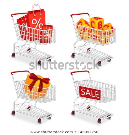 winkelwagen · dozen · 3D · 3d · render · illustratie · geïsoleerd - stockfoto © limbi007