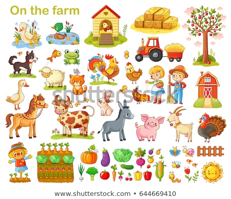 scarecrow and tractor set vector illustration stock photo © robuart