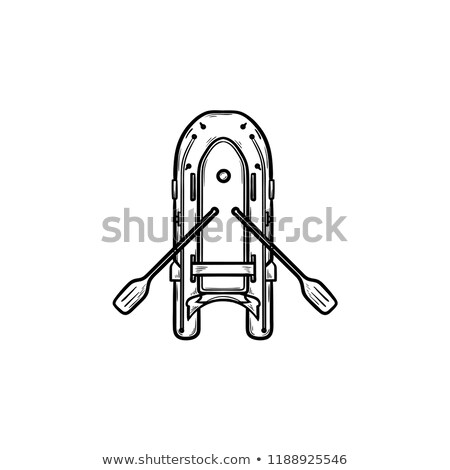 Inflatable boat with oars hand drawn outline doodle icon. Stock photo © RAStudio