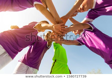 group of boys football soccer players standing together stock photo © matimix
