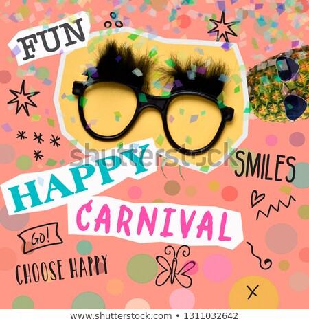 Tekst gelukkig carnaval tijdgenoot kunst collage Stockfoto © nito