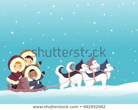 Stickman Kids Dog Sled Snow Stock photo © lenm