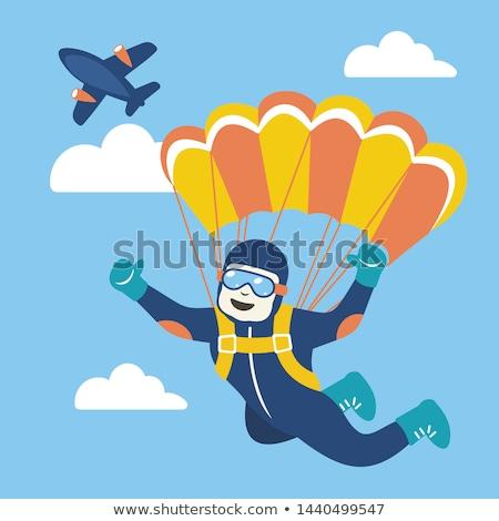 Vektor szett ejtőernyőzés sziluettek eps 10 Stock fotó © netkov1
