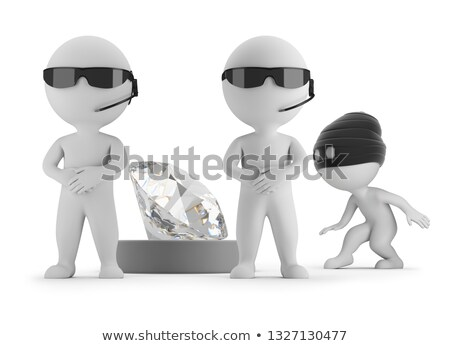 3d small people   thief wants to steal a diamond stock photo © anatolym