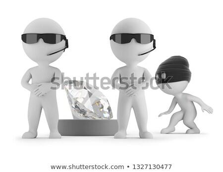 3D · mały · ludzi · ochroniarz · ciemne · okulary - zdjęcia stock © anatolym