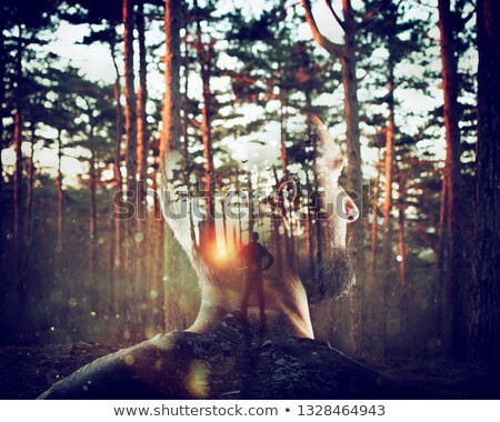 Erkek akla orman çift maruz kalma Stok fotoğraf © alphaspirit