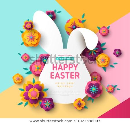 Sevmek Paskalya örnek imzalamak kalp tavşan Stok fotoğraf © colematt