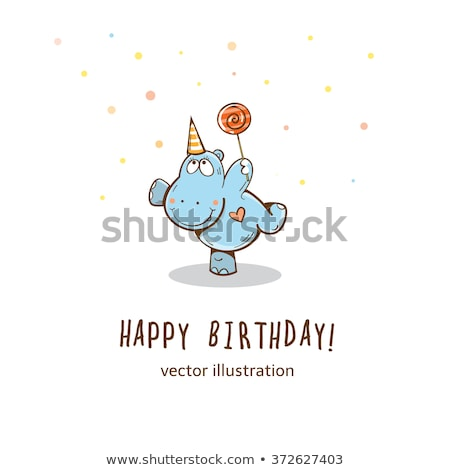 Cute vector be happy card with a hippo Stock photo © Giraffarte