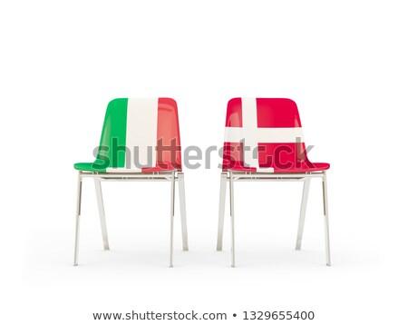 Dois cadeiras bandeiras Itália Dinamarca isolado Foto stock © MikhailMishchenko
