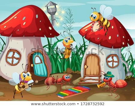 Hangyák gomba ház illusztráció fa háttér Stock fotó © colematt