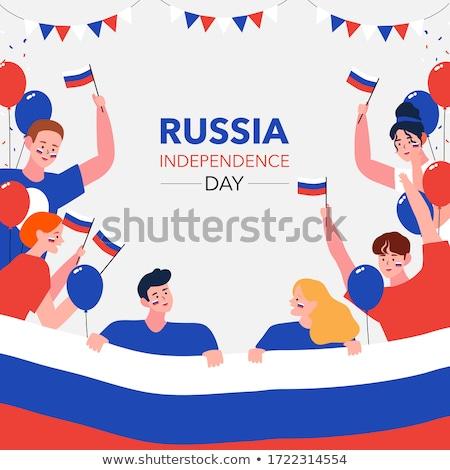 Jongen meisje vlag Rusland illustratie gelukkig Stockfoto © colematt