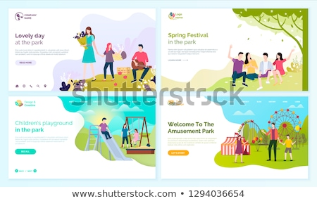 Stok fotoğraf: Welcome to Amusement Park and Spring Festival