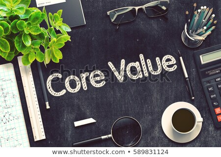 Foto stock: Brand Value - Text on Black Chalkboard. 3D Rendering.