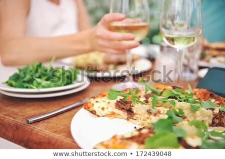 Stock fotó: Pizza · fehérbor · szabadtér · étterem · fókusz · üveg