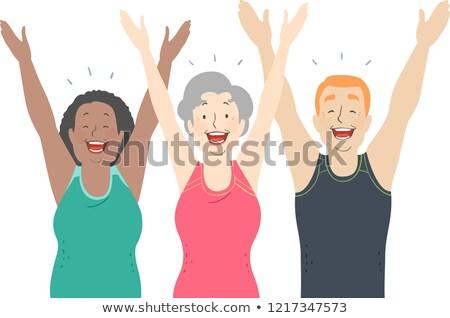 śmiech jogi ilustracja starszy człowiek Zdjęcia stock © lenm