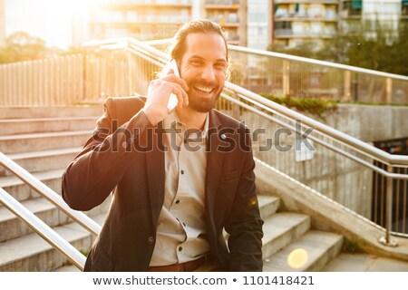 изображение человека 30-х годов формальный костюм смеясь Сток-фото © deandrobot