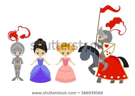 Herceg hercegnő lovaglás ló illusztráció épület Stock fotó © bluering