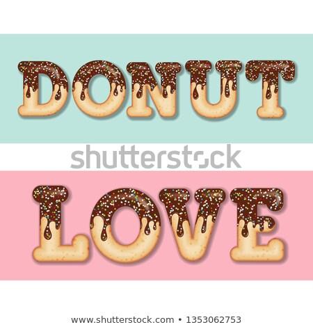 Tentant typographie cerise texte mots donut Photo stock © balasoiu