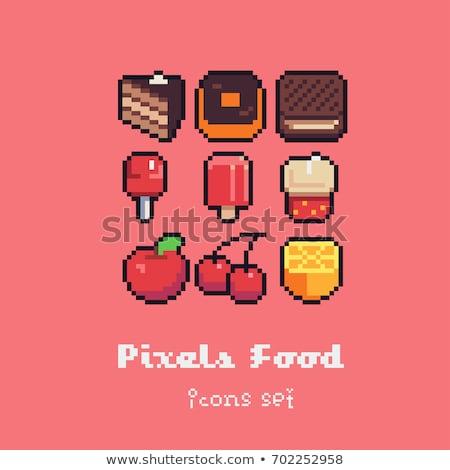 orange pixel art 8 bit video game fruit icon stock photo © krisdog