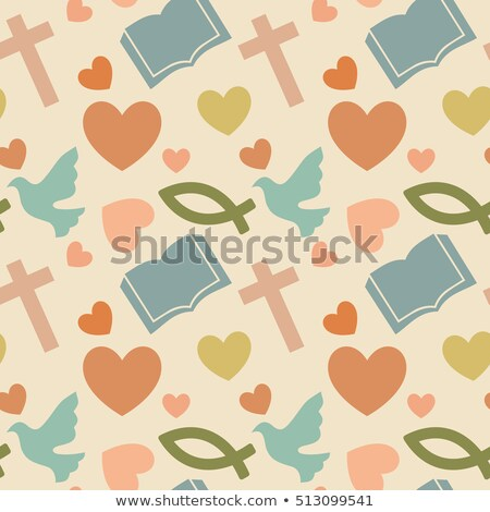 colored christianity icons pattern stock photo © netkov1