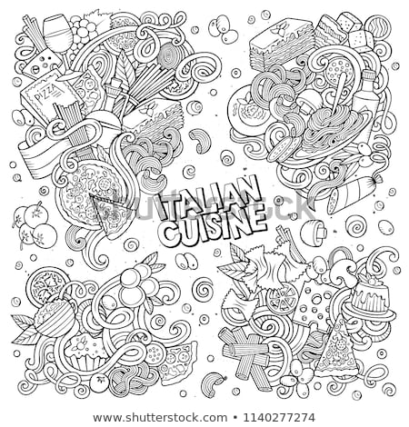 line art vector hand drawn doodles cartoon set of pizza combinations stock photo © balabolka