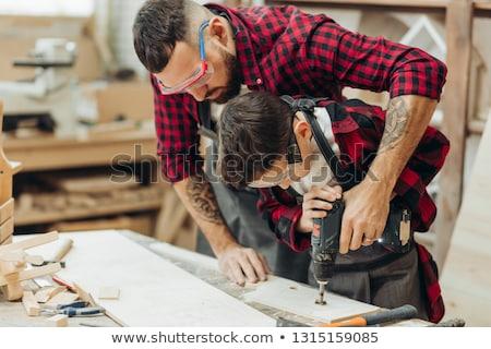 jeune · homme · atelier · homme · écrit · outils · garçon - photo stock © dolgachov