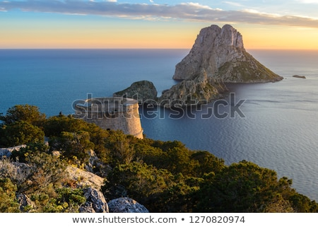 es vedra islet sunset in balearic islands stock photo © lunamarina