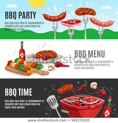 Barbecue Tasty Brazier Set Vector Illustration Stock photo © robuart