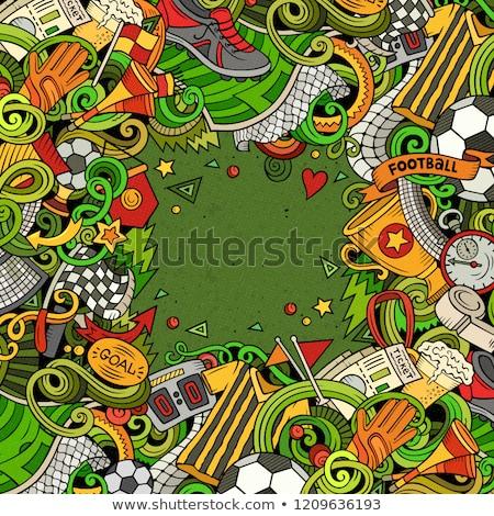cartoon doodles soccer frame colorful detailed background stock photo © balabolka