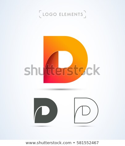 Yellow outlined font letter D 3D Stock photo © djmilic