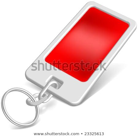 Rosso chiave catena targhetta isolato bianco Foto d'archivio © boggy