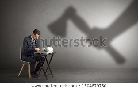 Gölge işçi adam çalışmak arka plan takım elbise Stok fotoğraf © ra2studio