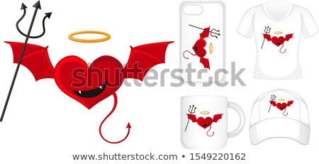 Graphic design on different products with devil heart Stock photo © bluering