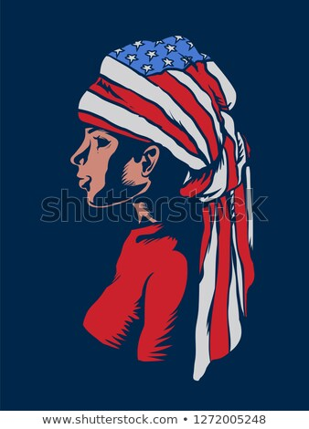 Girl Head Dress American Flag Illustration Stock photo © lenm
