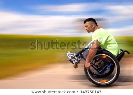 Aktywny wózek użytkownik niepełnosprawnych człowiek pop art Zdjęcia stock © studiostoks