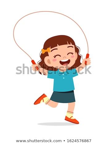 Cartoon fille sautant corde illustration enfant Photo stock © bennerdesign