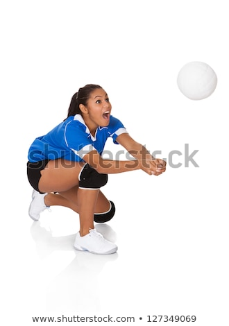 Beautilful volleyball player woman in a studio black Stock photo © Lopolo