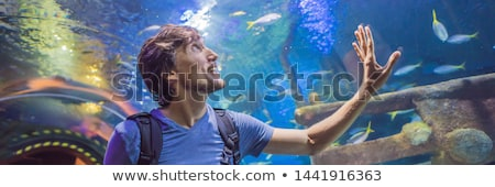 curious tourist watching with interest on shark in oceanarium tunnel BANNER, LONG FORMAT Stock photo © galitskaya