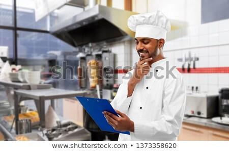Indian chef menu kebab winkel Stockfoto © dolgachov