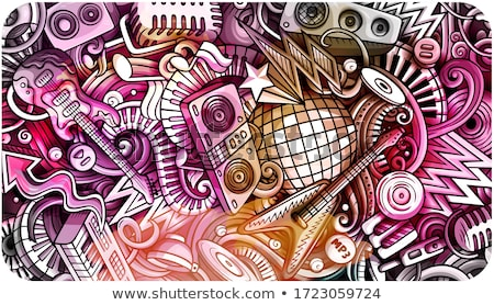 Disco Music hand drawn doodle banner. Cartoon detailed flyer. Stock photo © balabolka