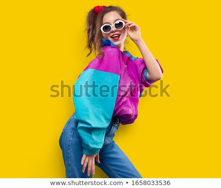 fashion teenager girl in vintage 80s 90s jacket stock photo © loopall