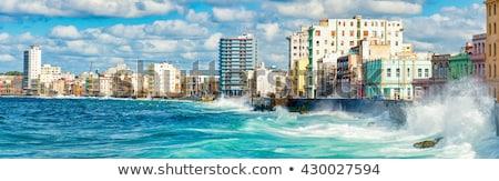 Hawana panoramę kolor budynku Błękitne niebo samochodu Zdjęcia stock © ShustrikS