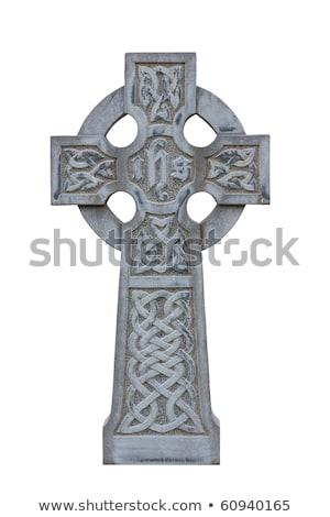 Grafsteen christelijke kruis oude ontwerp steen Stockfoto © angelp